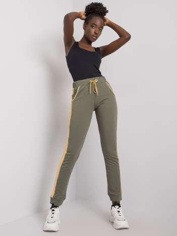 Khaki-złote spodnie dresowe z lampasem Ewelyn