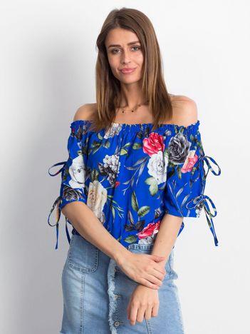 Kobaltowa kwiatowa bluzka hiszpanka z ściągaczem