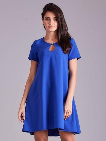 Kobaltowa luźna elegancka sukienka