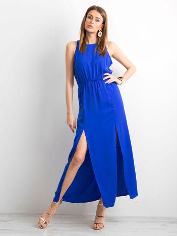 Kobaltowa sukienka maxi z rozcięciami