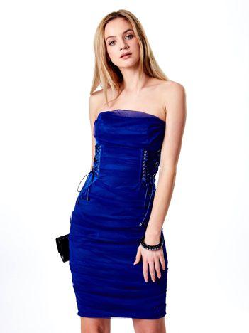 Kobaltowa sznurowana sukienka
