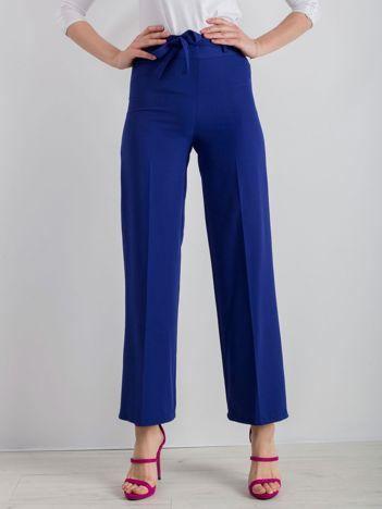 Kobaltowe szerokie spodnie z wiązaniem