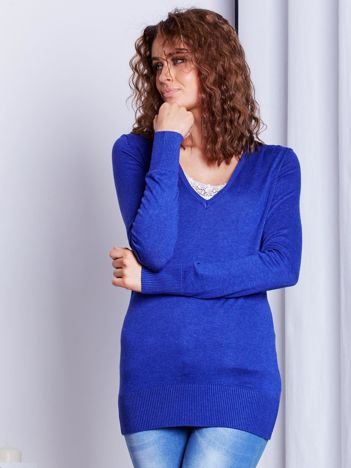 Kobaltowy sweter V-neck
