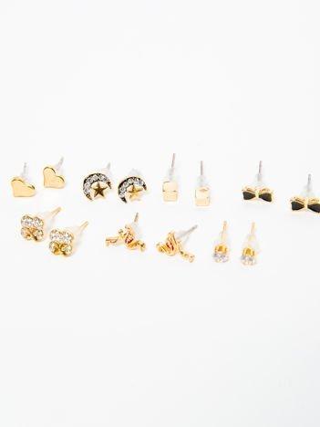 Kolczyki damskie złote z cyrkoniami zestaw 7 par kokardki, flamingi, serduszka