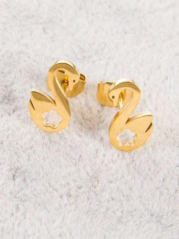 Kolczyki złote ŁABĘDZIE -najwyższej jakości STALI CHIRURGICZNEJ 316L