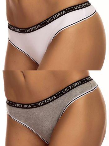 Komplet biało-szare bawełniane stringi z napisem VICTORIA 2-pak