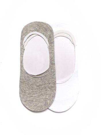 Komplet biało-szare krótkie gładkie skarpetki stopki do balerinek 2-pak