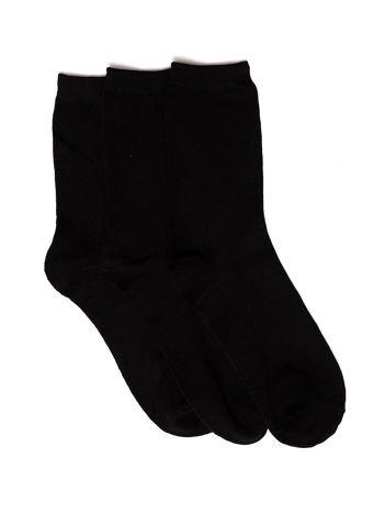 Komplet czarne długie gładkie skarpety męskie z bawełną 3-pak