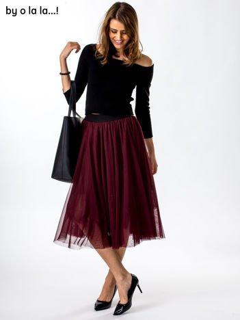 Komplet czarno-bordowy bluzka i spódnica BY O LA LA