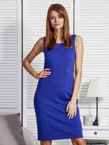 Komplet damski sukienka z narzutką kobaltowy