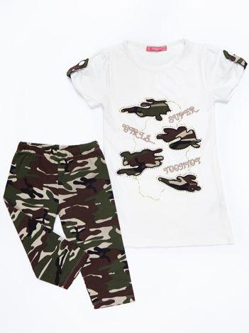 Komplet dla dziewczynki ecru tunika i długie spodnie moro