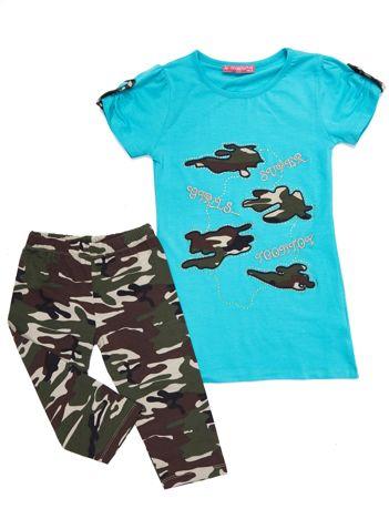 Komplet dziecięcy turkusowy tunika i długie spodnie moro