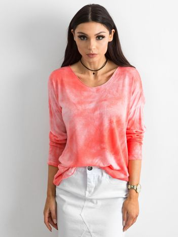 Koralowa bluzka damska z długim rękawem
