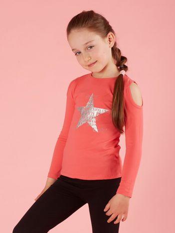 Koralowa bluzka dla dziewczynki z dżetami