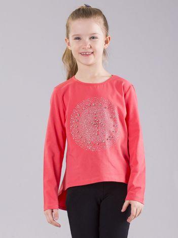 Koralowa bluzka dziewczęca z błyszczącą aplikacją