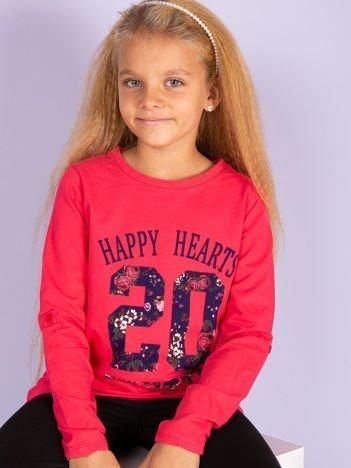 Koralowa bluzka dziewczęca z kwiatowym printem