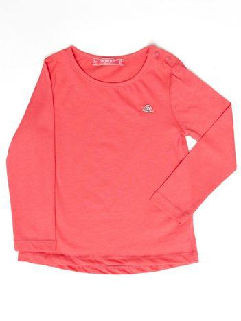 Koralowa gładka bluzka dziewczęca
