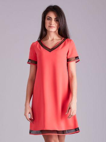 Koralowa trapezowa sukienka