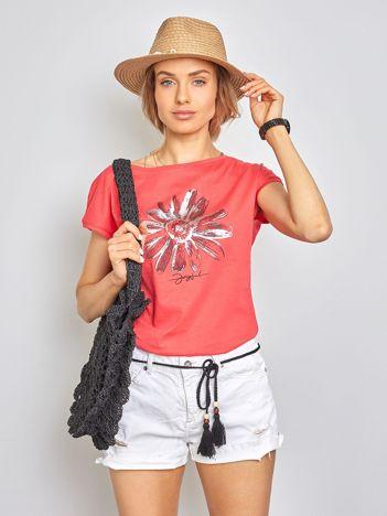Koralowy t-shirt Floral