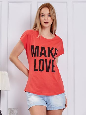 Koralowy t-shirt MAKE LOVE