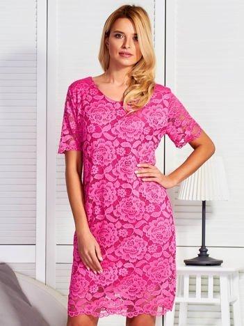 Koronkowa sukienka koktajlowa różowa