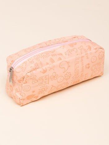 Kosmetyczka damska pastelowa brzoskwiniowa o kształcie piórnika