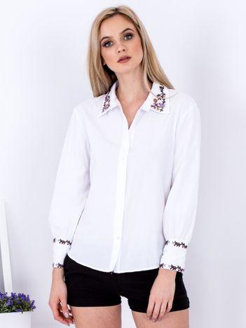 Koszula biała z haftowanymi wstawkami