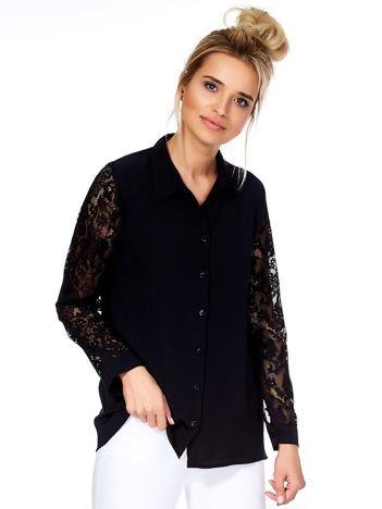 Koszula damska czarna z ażurowymi rękawami