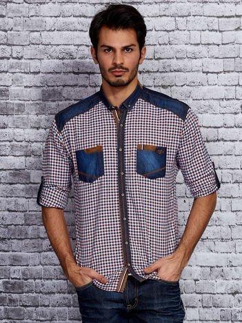 Koszula męska w kratę z denimowymi wstawkami