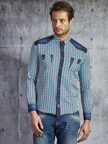 Koszula męska w kratę z jeansowymi wstawkami granatowo-biała