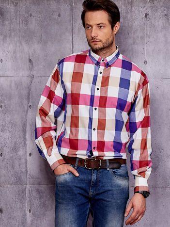 Koszula męska w szeroką kolorową kratę PLUS SIZE