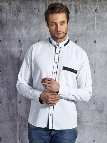 Koszula męska z kieszenią biała PLUS SIZE