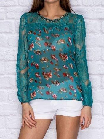 Koszula mgiełka w kwiaty z koronkowymi rękawami zielona
