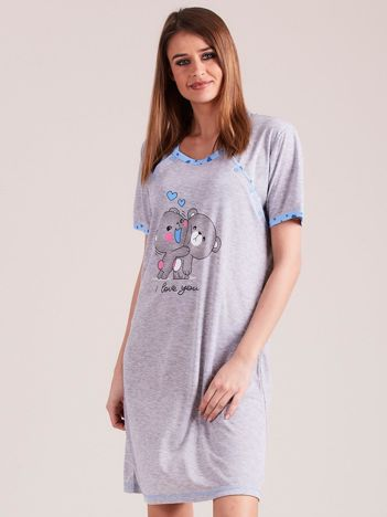Koszula nocna do karmienia niebieska