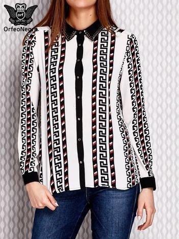 Koszula w geometryczne wzory z dłuższym tyłem czarna