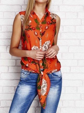 Koszula w kwiaty z wiązaniem pomarańczowa