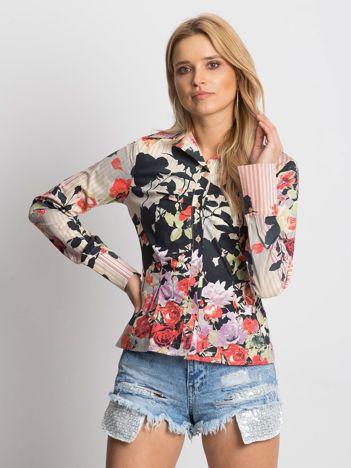 Koszula z nadrukiem kwiatów i pasków
