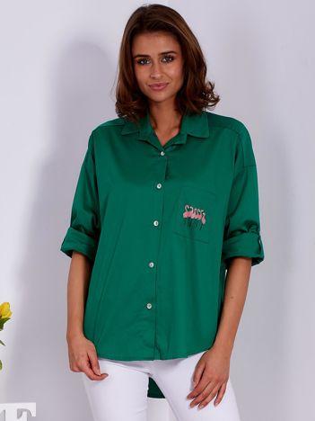 Koszula zielona z nadrukiem flamingów