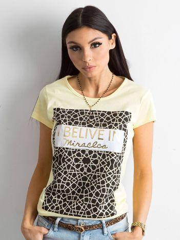 Koszulka damska z nadrukiem żółta