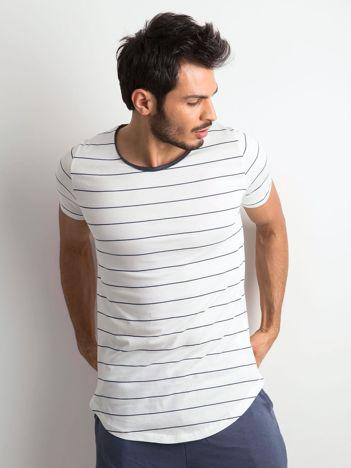 Koszulka męska w paski ecru