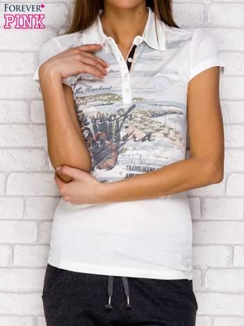 Koszulka polo z nadrukiem ecru