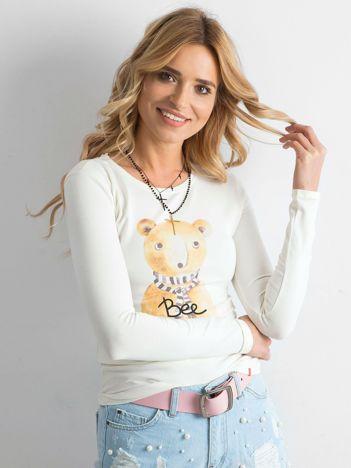 Kremowa bawełniana bluzka z nadrukiem