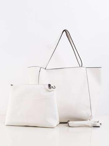 Kremowa pojemna torba z ekoskóry