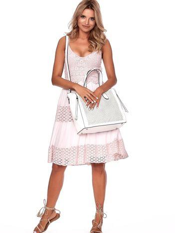 Kremowa torba shopper z ażurowaniem i odpinanym paskiem