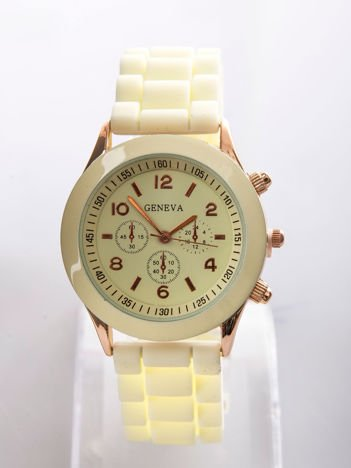 Kremowy zegarek damski z silikonowym paskiem