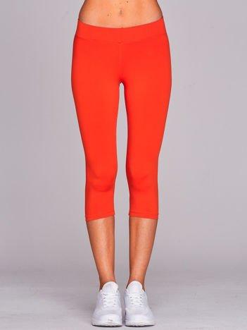 Krótkie cienkie legginsy sportowe ciemnopomarańczowe