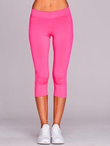 Krótkie cienkie legginsy sportowe ciemnoróżowe