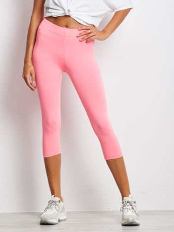 Krótkie cienkie legginsy sportowe jasnoróżowe