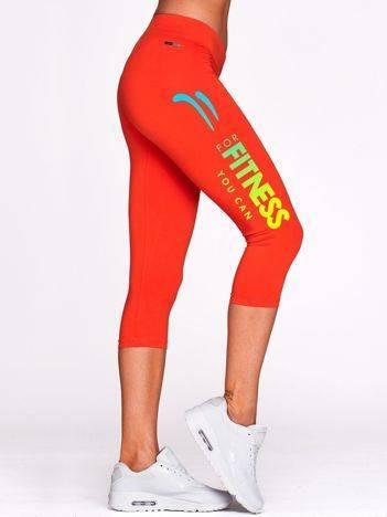 Krótkie legginsy do biegania z kolorowym printem ciemnopomarańczowe