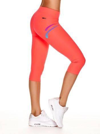 Krótkie legginsy do biegania z nadrukiem logo fluoróżowe